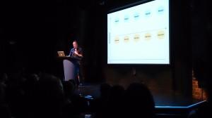 Jamie speaking on stage at NUX2