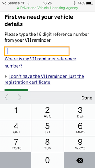 Image of a mobile device using the DVLA service