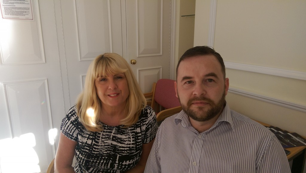Linda Davies, DVLA and Peter Gallagher, LC Vehicle Hire sitting together