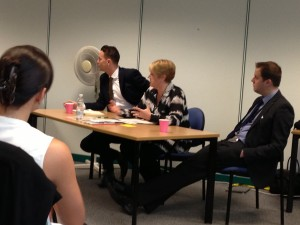 Ross, Julie and Rohan answering questions from stakeholder at the Transforming DVLA Services stakeholder event