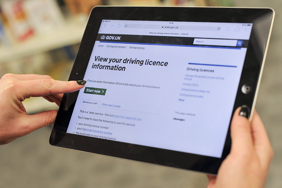 Table showing the view driving licence service on GOV.UK