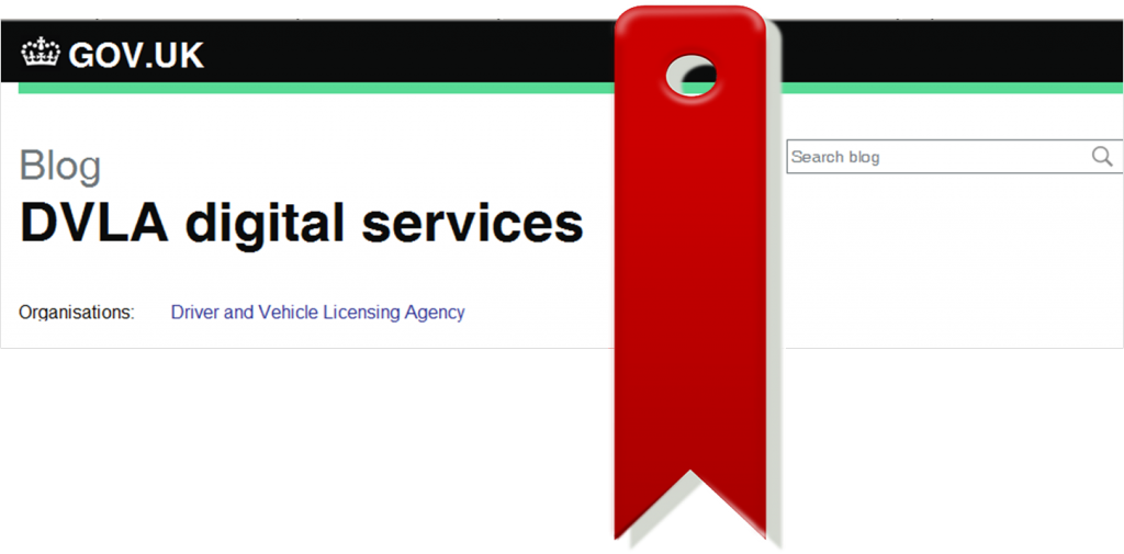 DVLA digital services blog homepage displaying a red digital bookmark
