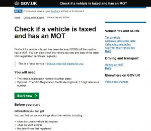 Check if a vehicle is taxed
